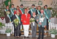 2008 Alois Lehmkuhl und Hildegard Lehmkuhl geb. Feldmann  Hofstaat (v.l.): Klaus und Monika Tepper, Hubert und Mechthild Severt, Wolfgang und Klara Hildebrandt, Antonius und Ulrike Beumer.