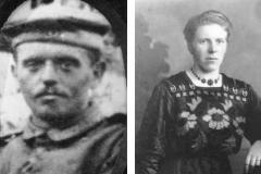 1914 Hubert Schulze Hobeling (1889 - 1916) und Änne Böckmann verh. Brandhove (*1892)  Hofstaat: August Drieling und Clärchen Sch. Hobeling, Josef Böckmann und Gertrud Mennemann verh. Bisping.