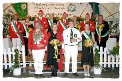 2007 Markus Rotthowe und Nadine Rotthowe geb. Bitter  Hofstaat (v.l.): Rene und Stefanie Heitmann, Markus Flechtker und Sabine Niemann, Dirk Bitter und Stefanie Tepper, Wolfgang Seel und Ulrike Wies.