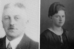 1927 Hubert Schlautmann (1900 - 1970) und Anna Schlautmann geb. Voß (1899 - 1995)  Hofstaat: Josef Haselhorst und Käthe Haselhorst verh. Gießmann, Paul Wemmer und Käthe Sieveneck.