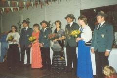 1987 Hubert Severt und Mechthild Severt geb. Paschen  Hofstaat (v.l.): Werner und Martina Lehmkuhl, Johannes und Elfriede Ahlbrandt.