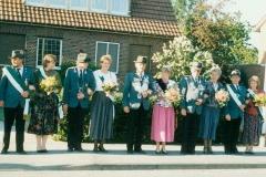 1989 Hugo Gerbert und Maria Gerbert geb. Auf der Landwehr  Hofstaat (v.l.): Helmut und Hildegard Schlingmann, Albert und Elisabeth Laubrock.
