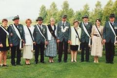 1997 Alfons Pelster und Christa Pelster geb. Förster  Hofstaat (v.l.): Josef und Klara Dransfeld, Antonius und Ulrike Beumer, Hubert und Klara Westbrock, Peter und Reinhild Rottwinkel.