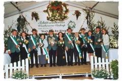 2002 Werner Schlautmann und Brigitte Schlautmann-Koch geb. Striewe  Hofstaat(v.l.): Thomas und Jutta Nosthoff, Berthold und Renate Wewelkamp, Alfred und Mechthild Tünte-Spielbrink, Klaus und Monika Tepper.